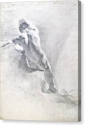Naked Canvas Print - Study Of A Male Nude by  Giambattista Piazzetta