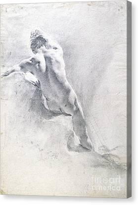 Study Of A Male Nude Canvas Print by  Giambattista Piazzetta