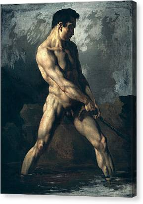 Study Of A Male Nude Canvas Print by Theodore Gericault