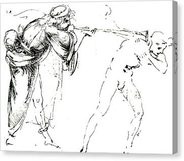 Ears Canvas Print - Study Of A Man Blowing A Trumpet In Another's Ear by Leonardo da Vinci
