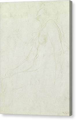 Study Of A Nude Canvas Print by William Strang