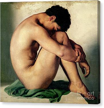 Study Of A Nude Young Man, 1836  Canvas Print by Hippolyte Flandrin