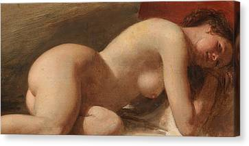 Study Of A Reclining Female Nude Canvas Print by EW Wyon