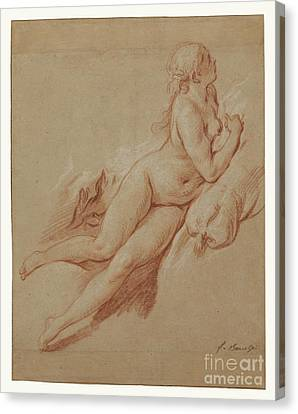 Study Of A Reclining Nude By Francois Boucher Canvas Print by Esoterica Art Agency