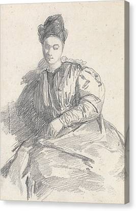 Study Of A Seated Woman Canvas Print by Richard Parkes Bonington
