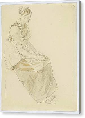 Study Of A Seated Young Woman Facing Canvas Print