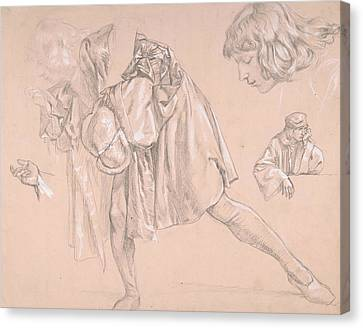 Young Man Canvas Print - Study Of A Young Man Bending Forward To Kiss A Hand, For The Painting The Departure Of The Prodigal  by James Tissot