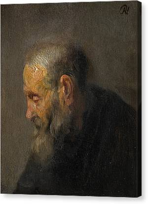 Study Of An Old Man In Profile Canvas Print by Rembrandt