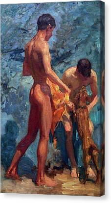 Study Of Bathing Boys Canvas Print