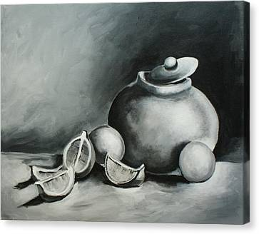Study Of Lemons, Oranges And Covered Jug In Black And White Canvas Print