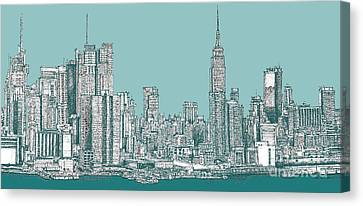 Study Of New York City In Turquoise  Canvas Print by Adendorff Design