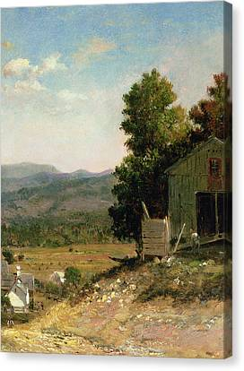 Study Of Old Barn In New Hampshire Canvas Print by George Loring Brown