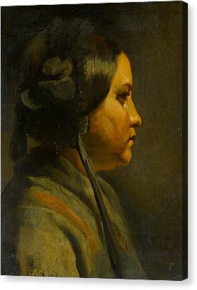 Study Of The Head Of A Young Woman In Profile Canvas Print by Matthijs Maris