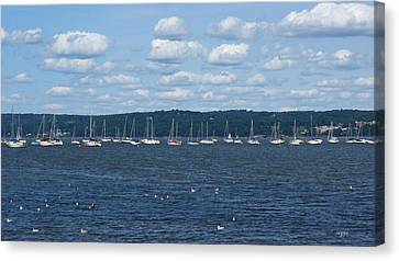 Canvas Print - Study Of White On Blue Sailboats Clouds And Seagulls by DazzleMe Photography
