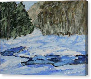 Study Sketch For Winter Creek Canvas Print by Jim Justinick