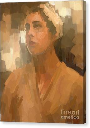 Study - Woman With Scarf Canvas Print by Carrie Joy Byrnes