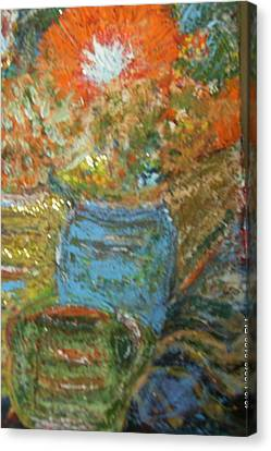 Stunning Still Life With Orange And Blue Canvas Print by Anne-Elizabeth Whiteway