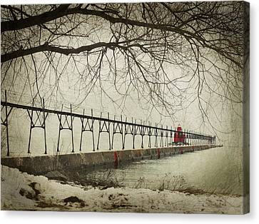 Sturgeon Bay Ship Canal Pierhead Lighthouse In Winter Canvas Print