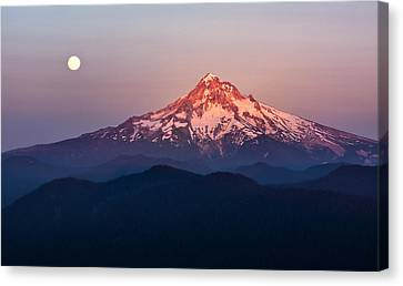 Sturgeon Moon Over Mount Hood Canvas Print by Jon Ares
