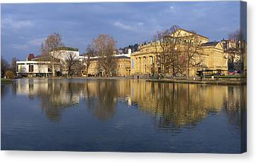Stuttgart State Theater Beautiful Reflection In Blue Water Canvas Print by Matthias Hauser