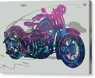 Stylised Motorcycle Art Sketch Poster - 1 Canvas Print by Kim Wang