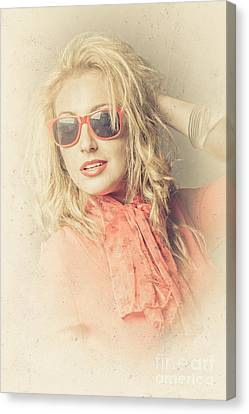 Stylish Blond Female Beauty In Vintage Sunglasses Canvas Print by Jorgo Photography - Wall Art Gallery