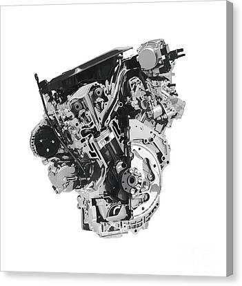 Stylized Cross Section Of Buick Lacrosse V6 Engine Art Print Canvas Print by Oleksiy Maksymenko