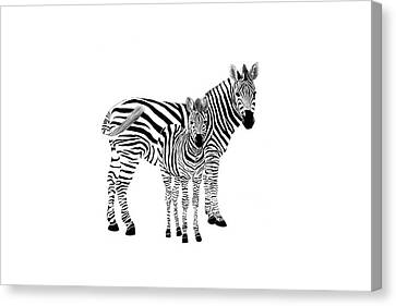 Stylized Zebra With Child Canvas Print