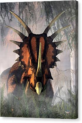 Styracosaurus In The Forest Canvas Print