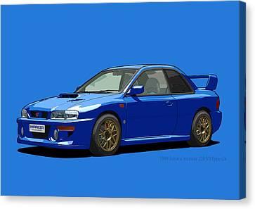 Subaru Impreza 22b Sti Type Uk Sonic Blue Canvas Print by DigitalCarArt
