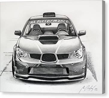 Subaru Impreza Canvas Print - Subaru Impreza Wrx Sti by Miro Porochnavy