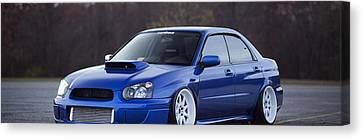 Subaru Impreza Wrx Sti Subaru Tuning Blue 98578 3840x1200 Canvas Print