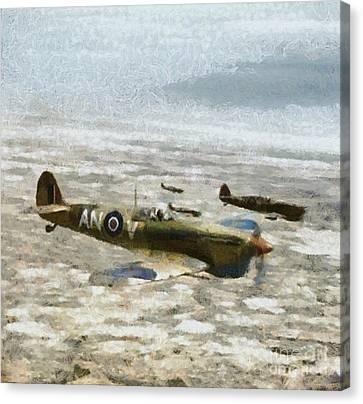 Raf Canvas Print - Submarine Spitfire Rcaf by Esoterica Art Agency