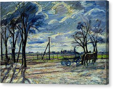 1916 Canvas Print - Suburban Landscape In Spring  by Waldemar Rosler