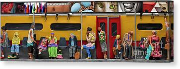Subway - Lonely Travellers Canvas Print by Anne Klar