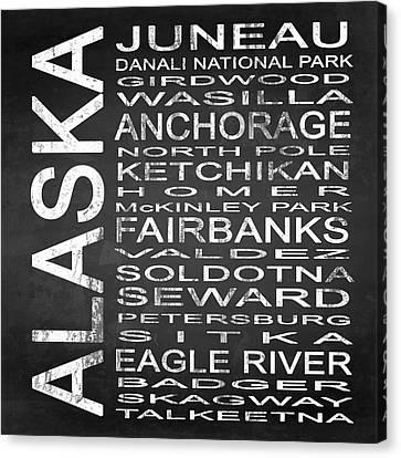 Subway Alaska State Square Canvas Print by Melissa Smith