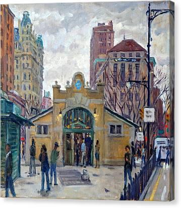 Subway At 72nd Street Nyc, Rain Canvas Print by Thor Wickstrom