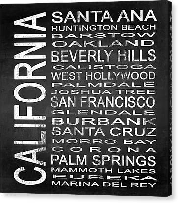 Subway California State Square Canvas Print by Melissa Smith