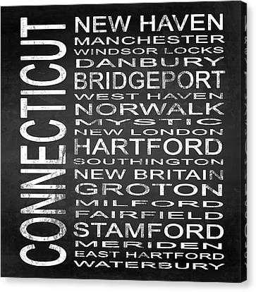 Subway Connecticut State Square Canvas Print by Melissa Smith