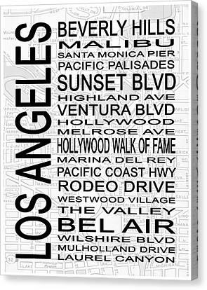 Modern Art Canvas Print - Subway Los Angeles 2 White by Melissa Smith