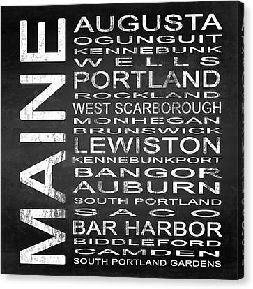 Subway Maine State Square Canvas Print by Melissa Smith