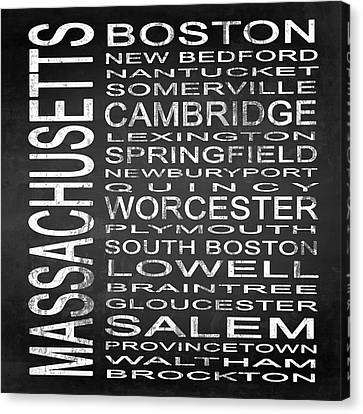 Subway Massachusetts State Square Canvas Print by Melissa Smith