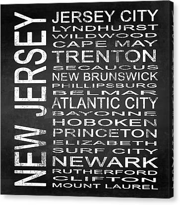 Subway New Jersey State Square Canvas Print by Melissa Smith