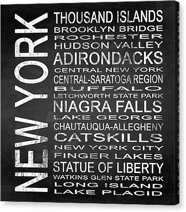Finger Lakes Canvas Print - Subway New York State 4 Square by Melissa Smith
