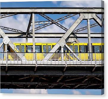 Subway Train And Bridge Canvas Print by Anthony Dezenzio
