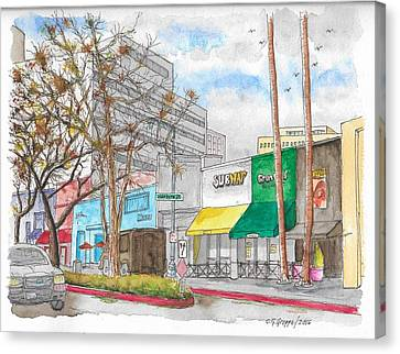 Subway, Wilshire Blvd. And Roxbury Dr., Beverly Hills, California Canvas Print by Carlos G Groppa