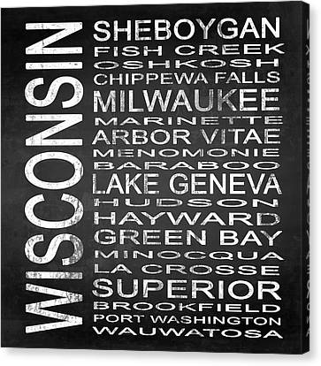 Subway Wisconsin State 2 Square Canvas Print by Melissa Smith