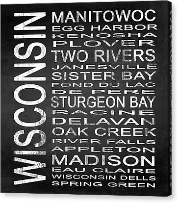 Subway Wisconsin State Square Canvas Print