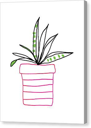 Succulent In A Pink Pot- Art By Linda Woods Canvas Print by Linda Woods