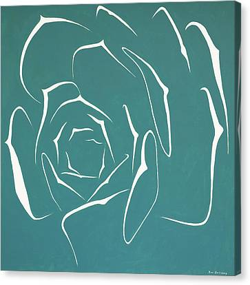 Canvas Print featuring the painting Succulent In Turquoise by Ben Gertsberg